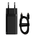 baseus gan2 pro quick charger 2c u 65w eu charging cable type c 100w 20v 5a 1m black extra photo 1