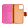 canvas book flip case for apple iphone 12 12 pro pink extra photo 2