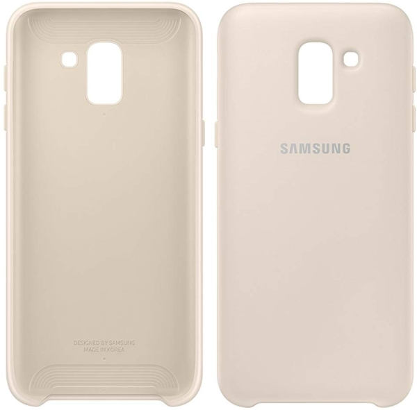 cheap for discount 5ef6b 02437 SAMSUNG DUAL LAYER COVER EF-PJ600CF FOR GALAXY J6 2018 GOLD