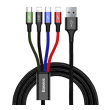 baseus fast 4 in 1 cable 2x lightning type c micro 35a black photo