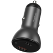baseus metal digital display pps dual quick car charger a c 45w grey photo