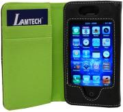 lamtech iphone case card holder black green fabric photo