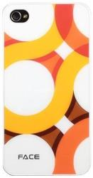 hard face case apple iphone 4 4s circle white orange plastic photo