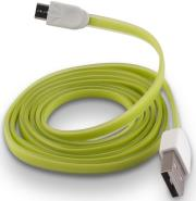 forever micro usb cable green silicone flat box photo