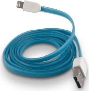forever usb cable for apple iphone 5 6 7 blue silicone flat box photo