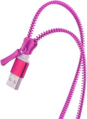 forever 2in1 usb zipper cable with 2x micro usb pink photo