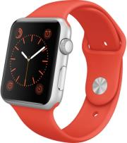 apple watch sport 42mm silver aluminum case with orange sport band photo