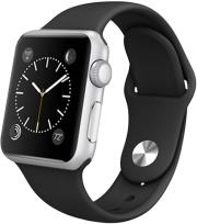 apple watch sport 42mm silver aluminum case with black sport band photo