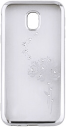beeyo roses back cover case for samsung a8 plus 2018 a730 silver photo