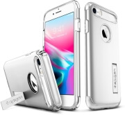 spigen slim armor back cover case stand for apple iphone 7 8 satin silver photo