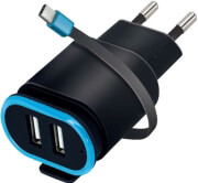 FOREVER TC-02 WALL CHARGER 2XUSB 2.4A WITH CABLE TYPE-C BLACK