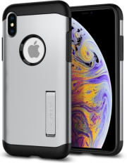 spigen slim armor back cover case stand for apple iphone xs max satin silver photo