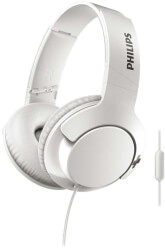 philips shl3175wt 00 bass over ear headphones with mic white photo
