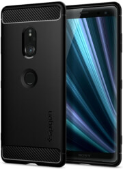 spigen rugged armor back cover case for sony xperia xz3 black photo