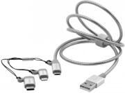 verbatim 48870 3 in 1 usb c lightning micro b usb stainless steel sync charge cable 1m silver photo