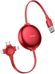 baseus cable little octopus 3in1 lightning 8 pin micro type c 3a red photo