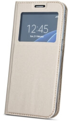 smart look flip case for samsung a40 gold photo