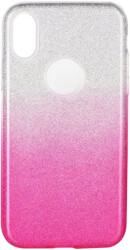 forcell shining back cover case for samsung galaxy a40 clear pink photo