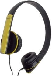 maxell hp headphones with mic yellow black photo