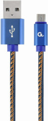 cablexpert cc usb2j ammbm 1m bl premium jeans denim micro usb cable with metal connectors 1m blue photo