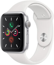 apple watch series 5 mwvd2 32gb 44mm aluminium silver case with white sport band photo