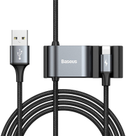 baseus special data cable for backseat usb to lightning dual usb 15m black photo