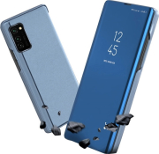 smart clear view flip case for motorola moto g8 plus blue photo