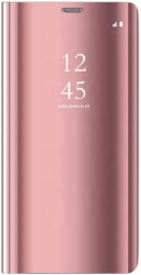 smart clear view flip case for samsung a21 pink photo