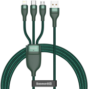 baseus flash series 3 in 1 fast charging cable usb to micro usb lightning type c 5a 18w 12m green photo