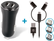 forever cc 03 car charger dual usb 24 a 3in1 cable microusb iphone type c photo