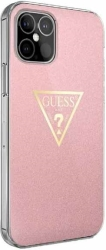 guess iphone 12 iphone 12 pro 61 guhcp12mpcumptpi pink hard back cover case metallic collection photo
