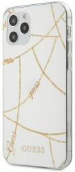 guess iphone 12 mini 54 guhcp12spcuchwh white hard back cover case gold chain collection photo