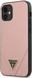 guess iphone 12 mini 54 guhcp12svsatmlpi pink hard back cover case saffiano photo