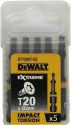 set 5 tem dewal extreme impact torsion mytes torx t20 50mm dt7395t photo