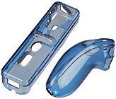 hama 52107 transparent hardcase kit for nintendo wii remote control blue photo